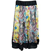 Mogul Interior Womens Peasant Skirt colorful Gypsy Floral FLAUNTING Chiffon Spring Fashion Midi Skirts S/M/L