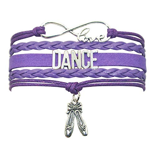 HHHbeauty Girls Dance Bracelet Dancing Cute Belly Ballroom Just Dance Charm Bracelet for Women,Girls,Men,Boys,Teens Dancers Infinity Love Charm, Letters, Dance Shoes (Purple)