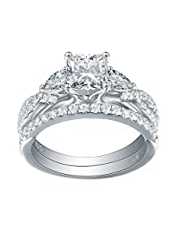 Newshe Wedding Ring Sets for Women Engagement Rings 925 Sterling Silver White AAA Cz Princess Pear Size 5-10