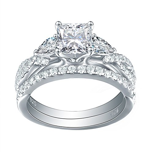 Newshe 1.7ct Princess Pear White AAA Cz 925 Sterling Silver Engagement Wedding Ring Set Size ()
