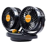 UHeng 24v Auto Oscillating Car Fan Rotatable 2 Speed Dual Head Blade Quiet Strong Dashboard Electric Fans for SUV, RV, Boat, Vehicles