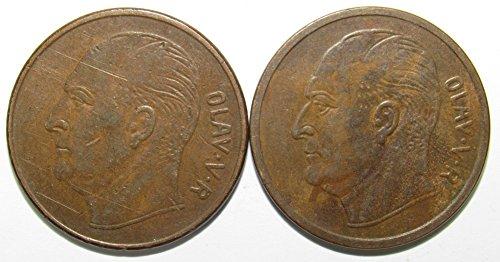 NO 1960 & 1962 Lot of 2 Norway 5 Ore Coins Fine/Fine+