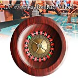 Coyan 12-inch Russian Casino-Class Luxury Wooden Betting Wheel, Desktop Props Wood Table Game Sweepstakes Roulette