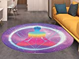 Indie Round Area Rug Human Silhouette Lotus Position Triangles Circles Galaxy Meditation Yoga Indoor/Outdoor Round Area Rug Lavander Pink Blue