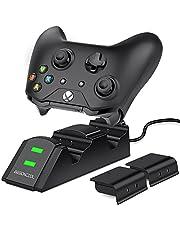 Xbox One Controller Ladestation, BEBONCOOL 2 x 800mAh Xbox One Akku-Packs Xbox Ladestation, Sicher Ladegerät Xbox akku und Ladestation Zubehörsets für Xbox One/One S/One X Controller mit LED-Anzeige