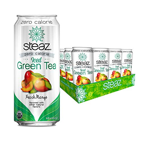 Steaz Organic Zero Calorie Iced Green Tea, Peach Mango, 16 FL OZ (Pack of 12) (Tea Green Peach Cans)