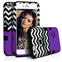 iPhone 6S Case, MagicMobile® Hybrid Rugged Rubber Hard Glossy Plastic Protective Case for Apple iPhone 6S (Chevron Pattern with Heart Anchor Design) High Impact Armor Case for iPhone 6S (2015)- Purple