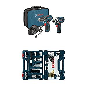 Bosch CLPK22-120 12-Volt Lithium-Ion 2-Tool Combo Kit (Drill/Driver and Impact Driver) with 2 Batteries, Charger and Case w/ 91 pc drill and drive bit set
