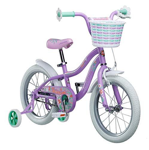 Bikes Schwinn Girls (Schwinn Jasmine Kids Bicycle 16in wheel size, age 4 to 7 with training wheels, girls purple (Renewed))