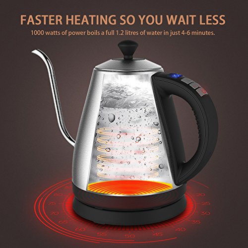 Electric Kettle with Variable Temperature, 1.2L Gooseneck Pour-Over Kettle for Drip Coffee and Tea, BPA-Free 304 Stainless Steel Kettle with LCD Display and Keep Warm Function Kettle, 1000W by Doctor Hetzner (Image #6)