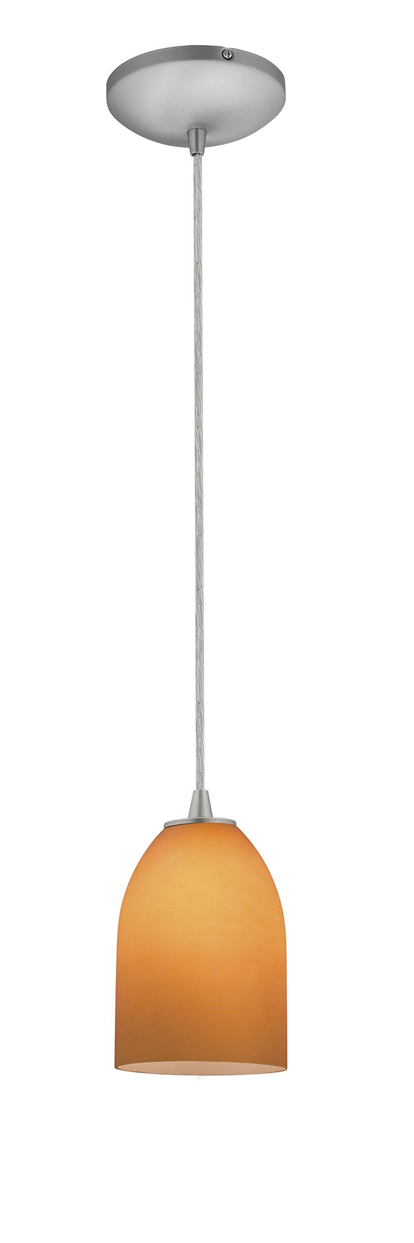 Bordeaux Glass Pendant - 1-Light Pendant - Cord - Brushed Steel Finish - Amber Glass Shade