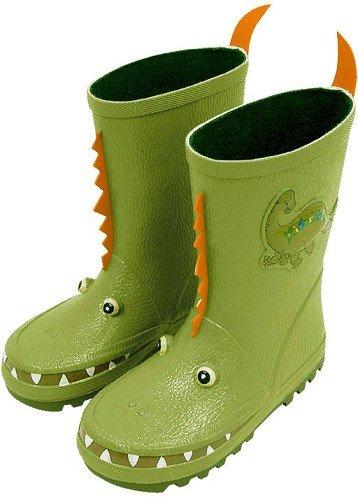 3-D Gummistiefel Naturkautschuk - Dinosaurier - Gr. 23 - für Kinder Regenstiefel / Matschstiefel Stiefel Dino Saurier