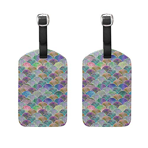 Set of 2 Luggage Tags Fish Scale Ocean Wave Suitcase Labels Travel Accessories