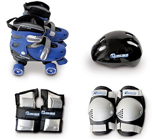 Chicago Boys Quad Roller Skate Combo - Includes Adjustable Skates, Knee Pads, Elbow Pads, & Helmet - Medium Size 1-4