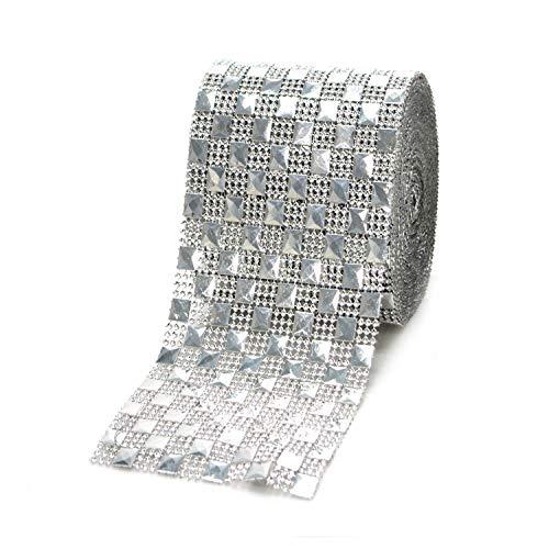 Pyramid Studs Checkered Rhinestone Diamond Mesh Wrap Roll, Diamond Ribbon. for Event Decorations, Wedding Cake, Birthdays, Baby Shower, Arts & Crafts. (4.75