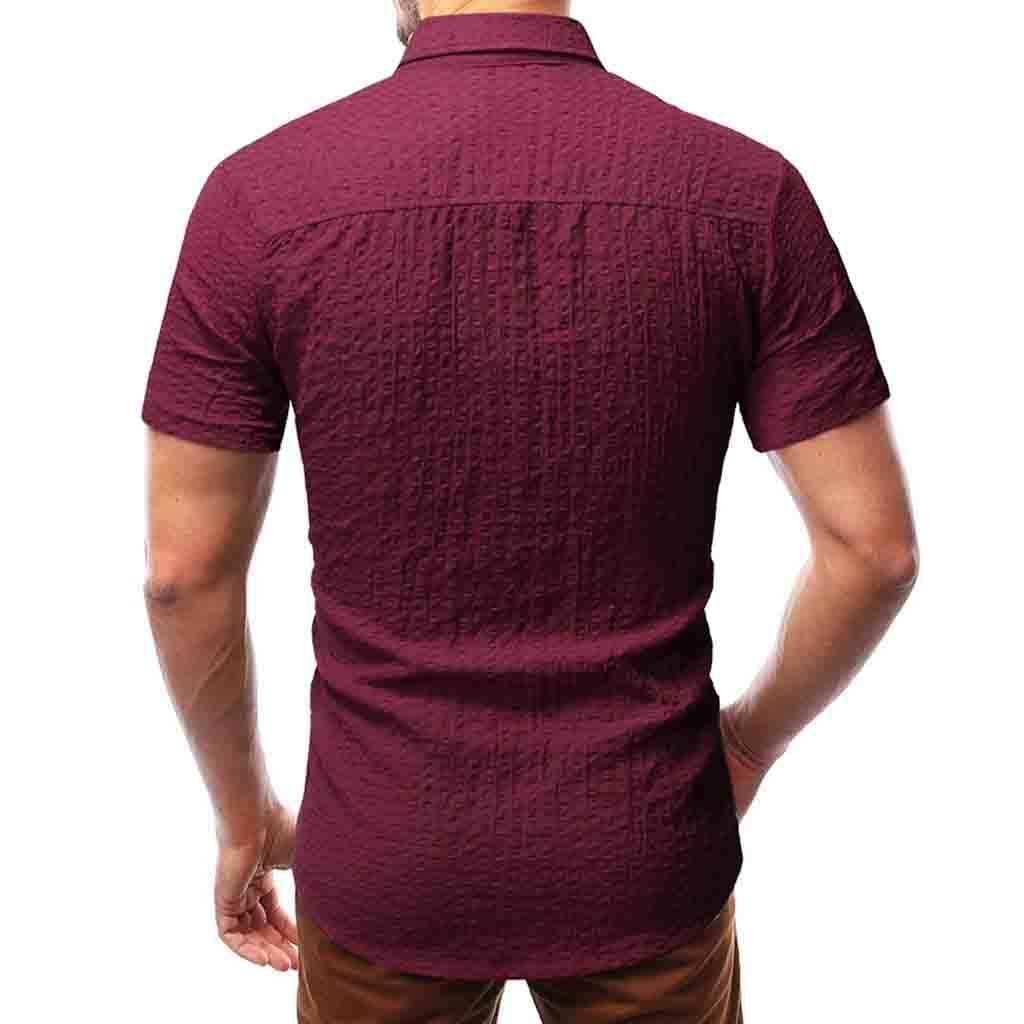 F/_Gotal Polo Shirt for Mens Mens Summer Embossed Pleated Lapel Polo Shirt Big and Tall Slim Fit Tees Casual Blouse Tops