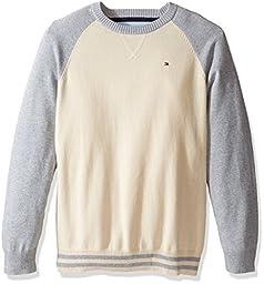 Tommy Hilfiger Big Boys\' Daryl Raglan Crew Neck Sweater, Essex Ivory, Large