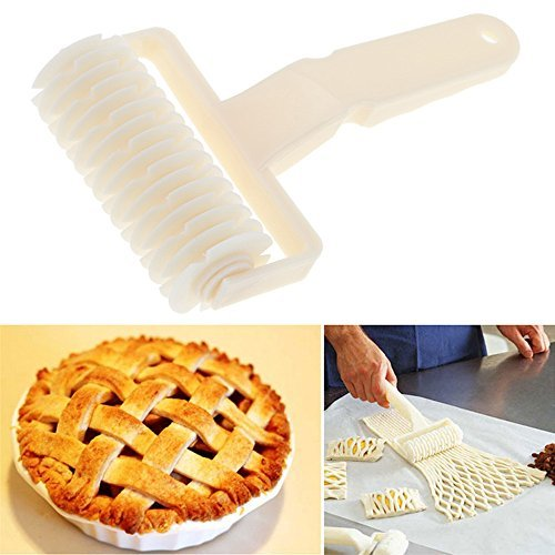 Whitelotous Plastic Kitchen Pizza Cake Pastry Lattice Roller Cutter Hobbing Baking Tool