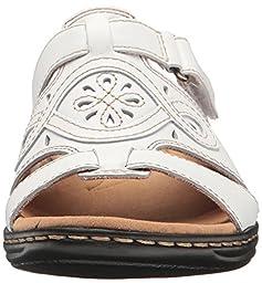 Clarks Women\'s Leisa Higley Slide Sandal, White Leather, 6 M US