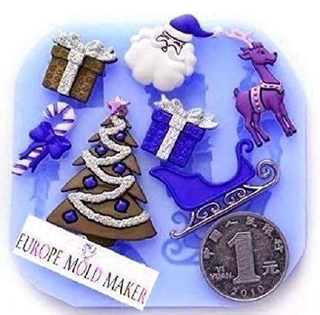 Molde de silicona para uso alimentario de Santa Claus - reno - Árbol de Navidad - bolsa de regalo ...