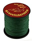 Dark Green super strong PE braided fishing line (1000M, 40LB)