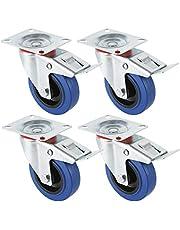 Miafamily Transportwielen, industriële zware wielen, zwenkwielen met rem, blauw, 4 x wielen met rem, 125 mm wielen voor meubels, draagvermogen 300 kg