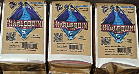 Harlequin Coffee (Harlequin Café Espresso Coffee- DECAF GROUND- Fresh French & Medium Roast GROUND- Gourmet Espresso Whole Coffee Bean- Fair Trade & Organic Robusta Arabica Blend Coffee- 12oz)