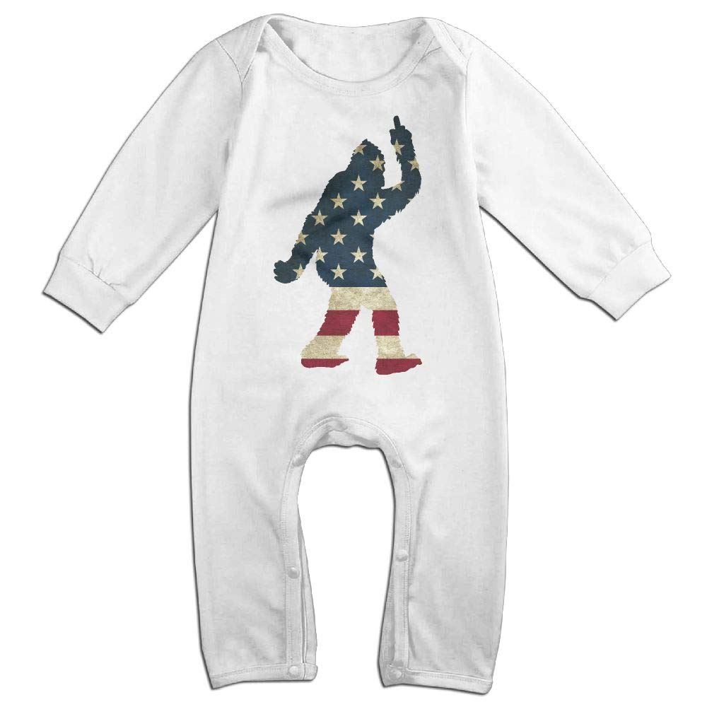 Baby Boy Jumpsuit Bigfoot Walking Silhouette USA Flag Kid Pajamas
