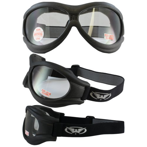 (New - Global Vision - Big Ben Black Frame Motorcycle Goggles with Clear Shatterproof Anti-Fog Polycarbonate Lenses and Soft Airy Foam)