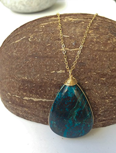 (Natural Eilat stone Gold Filled pendant necklace, Teardrop shaped, handmade )