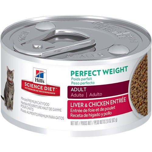 Hills Science Diet Adult Perfect Weight Wet Cat Food, Liver & Chicken Entrée Canned Cat Food for healthy weight and weight management, 2.9 oz, 24 Pack