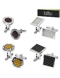 BMC 4 Pair Round Square Rectangular Carbon Fiber Pattern Silver Alloy Cufflinks