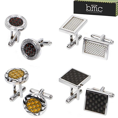 BMC 4 Pair Round Square Rectangular Carbon Fiber Pattern Silver Alloy Cufflinks (Cufflinks Silver Pattern)