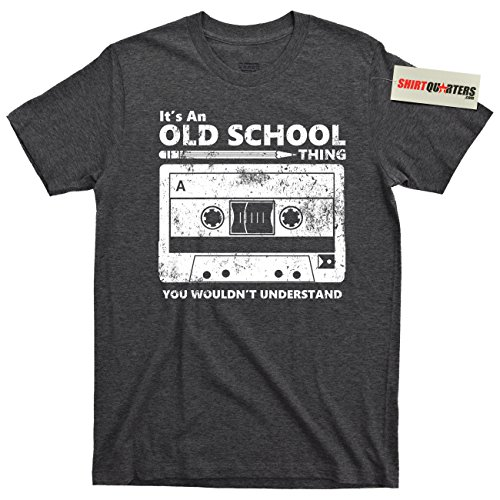 It's an Old School Thing You Wouldn't Understand Throwback Cassette Tape tee t Shirt (Boombox Dark Heather, (Mic Vhs)