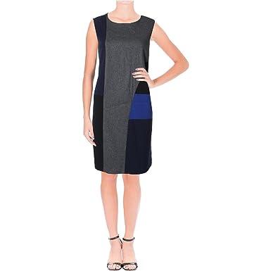DKNY Womens Mixed Media Colorblocked Wear to Work Dress Navy M at ...