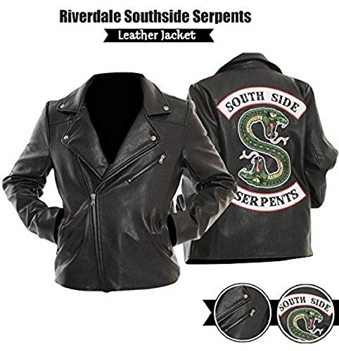Mens Leather Jacket Black Southside Serpents Riverdale Biker Genuine Leather