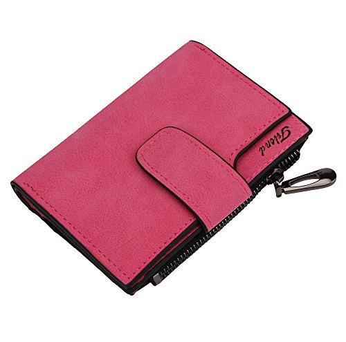 Women Leather Wallet,Fashion Zipper Mini Bifold Card Holder Coin Wallet Purse Han Shi (S, Hot Pink)