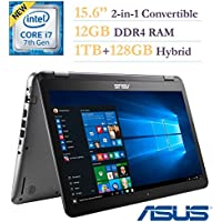 2017 ASUS 15.6-inch 2-in-1 Convertible Touchscreen FHD 1920x1080 Laptop PC, Intel Core i7-7500 2.7GHz Processor, 12GB DDR4 RAM, 1TB HDD+128GB SSD, NVIDIA GeForce 940MX 2GB, Bluetooth, Windows 10 Home