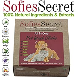SofiesSecret Pet Wipes for Dogs+Cats and ALL other Pets, ALL IN ONE GROOMING, 20 Count, 100% Natural & Organic Extracts, Extra Thick, Ultra Soft, Extra Large,Hypoallergenic, Cruelty Free & Vegan