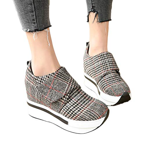 (Seaintheson Women Wedges Boots, Slip on Thick Platform Work Shoes Fashion Casual Gingham Ankle Boots High Heels Walking Shoes)