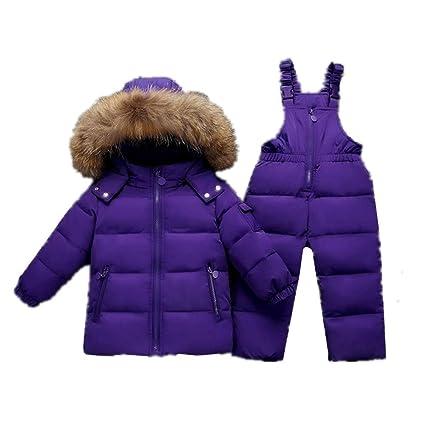 dcfda1dc0 Nieve Invierno Ropa Set Bebé niños niñas dos piezas Puffer abajo chaqueta  invierno cálido traje para la nieve con capucha borde de piel ...