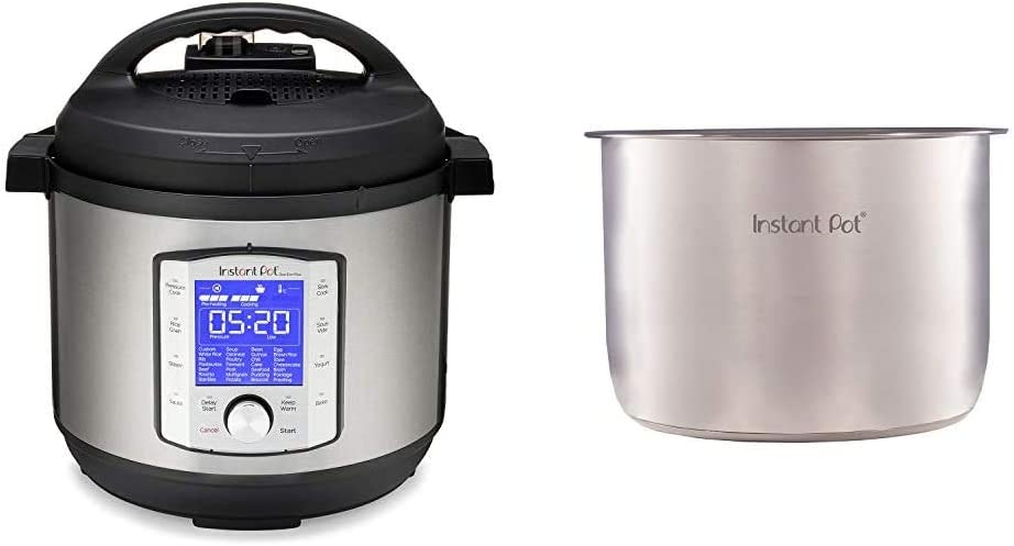 Instant Pot Duo Evo Plus Pressure Cooker 10 in 1, 8 Qt, Easy Grip Handles & Genuine Instant Pot Stainless Steel Inner Cooking Pot 8 Quart