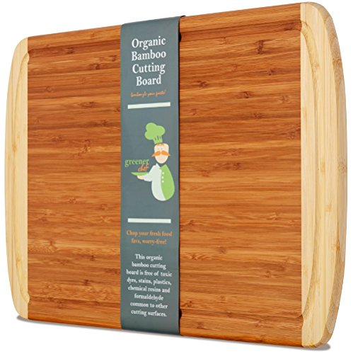 arge Organic Bamboo Cutting Board with NEW CRACK-PREVENTION TECHNOLOGY & LIFETIME REPLACEMENT WARRANTY - Best Wood Cutting Boards for Kitchen - Juice Groove for Meat - FDA Approved (Extra Heavy Dinner Knife)