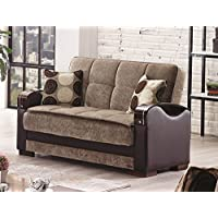 BEYAN Rochester Collection Upholstered Convertible Love Seat with Storage Space, Includes 2 Pillows, Dark Brown