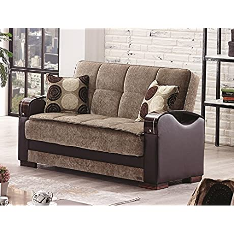 BEYAN Rochester Collection Upholstered Convertible Love Seat With Storage Space Includes 2 Pillows Dark Brown