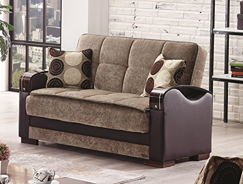 Price comparison product image BEYAN Rochester Collection Upholstered Convertible Love Seat with Storage Space,  Includes 2 Pillows,  Dark Brown