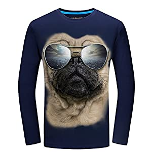 Angcoco Men's Long Sleeve 3D Digital Printed Tee Shirts - Dog with Sunglasses