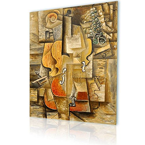 Alonline Art - Violin and Grapes Pablo Picasso Print On Canvas (Synthetic, UNFRAMED Unmounted) 24