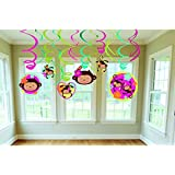 "Amscan Sweet Monkey Love Hanging Foil Swirls Decoration Value Pack (1 Piece), 24"", Pink/Green"