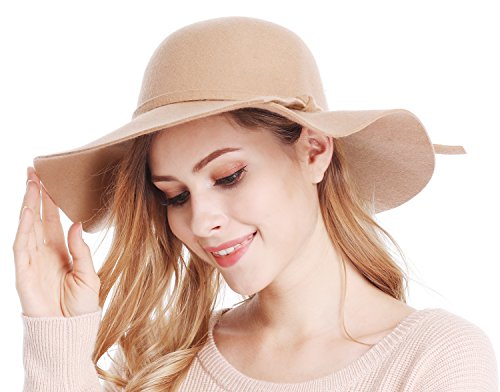 Bienvenu Women's Wide Brim Taupe Solid Color Wool Floppy Hat Camel - Felt Floppy Hat